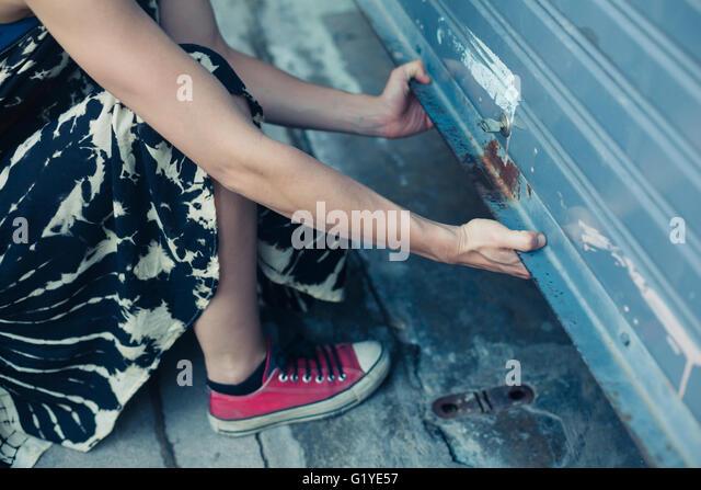 Woman Unlocking Car Door Painting