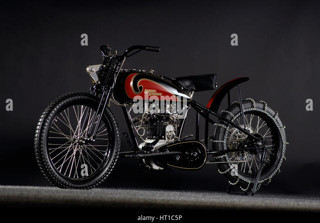 Harley Davidson OHV peashooter 1901. Artist: Simon Clay. - Stock Image