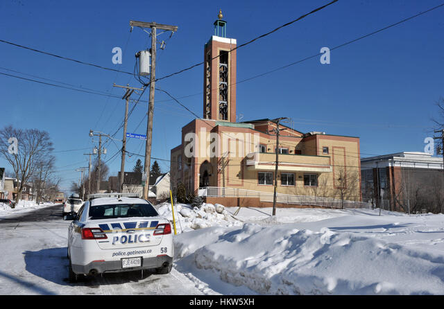 Gatineau, Canada. 29th Jan, 2017. A Gatineau police cruiser is parked outside the Outaouais Islamic Centre on Rue - Stock Image