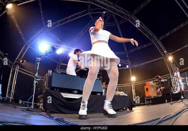 BARCELONA - JUN 20: Bomba Estereo (electro vacilon or cumbia band) in concert at Sonar Festival on June 20, 2015 - Stock Image