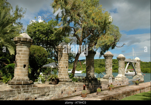 Antigua 18th century round columns near Admirals Inn at Nelsons Dockyard National Park at English Harbour in Eastern - Stock Image