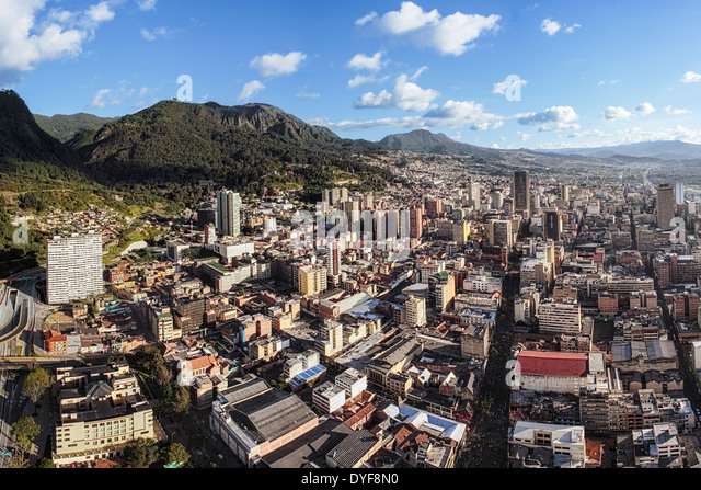 Aerial view of Bogota, the capital of Colombia. Panoramic view from the center to the South with Guadalupe Hill - Stock Image