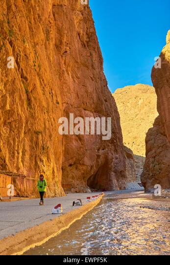 Todra Gorge, natural ravine near Tinerhil. Atlas Mountain region, Morocco - Stock Image