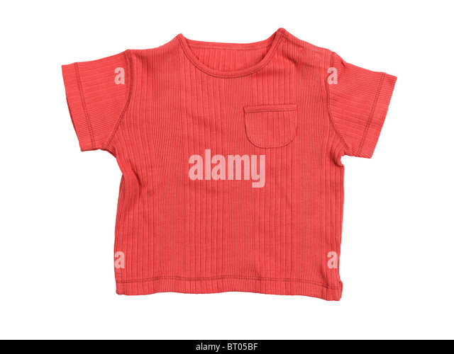 Baby boy red t-shirt isolated on white background with clipping path - Stock Image