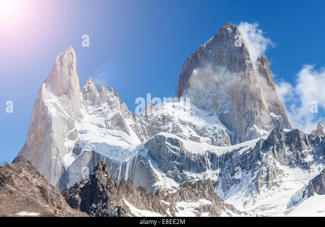 Sun over Fitz Roy Mountain, Patagonia in Argentina. - Stock Image