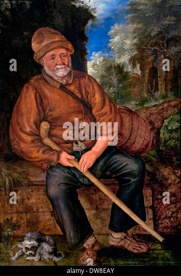 A farmer at Rest 1615 Roelant Savery 1576 - 1639 Dutch Netherlands - Stock Image
