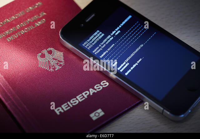 German smartphone that is wiretapped by spyware - Stock Image