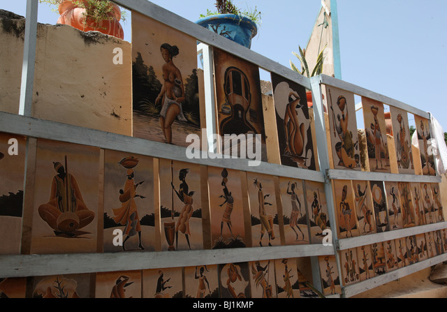 Senegal, paintings with sand - Stock Image