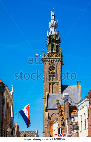 Netherlands, North Holland, Edam. The Speeltoren (Carillon Tower) bell tower, built in 1561. - Stock Image