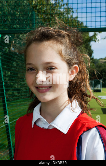 Portrait of schoolgirl netball player - Stock Image