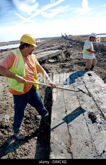 Workers contruction on road. - Stock-Bilder