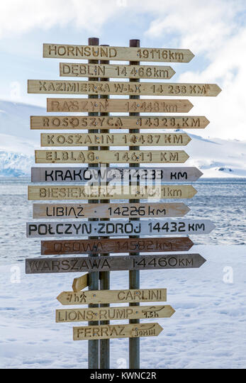 Distance signage to parts of the world from Arctowski; Polish Research Station; King George Island; Antarctica - Stock Image