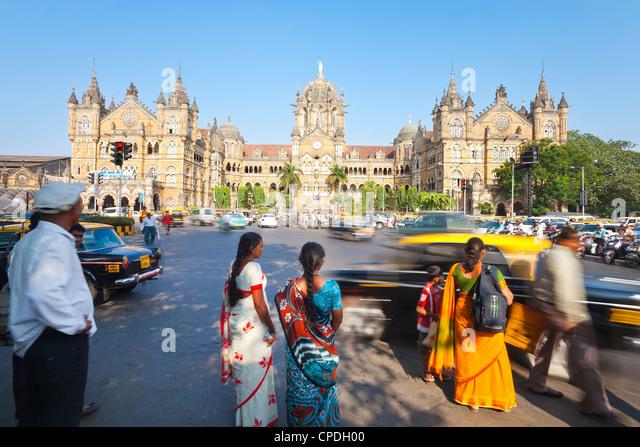 Chhatrapati Shivaji Terminus (Victoria Terminus), UNESCO World Heritage Site, Mumbai, Maharashtra State, India, - Stock Image