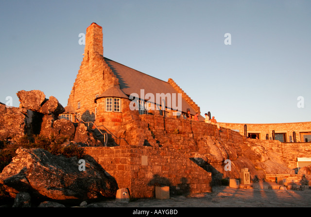 south africa cape town table mountain view point sunset historical building  - Stock Image