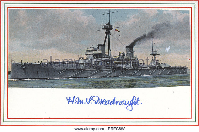 HMS Dreadnought, early twentieth century postcard. - Stock Image