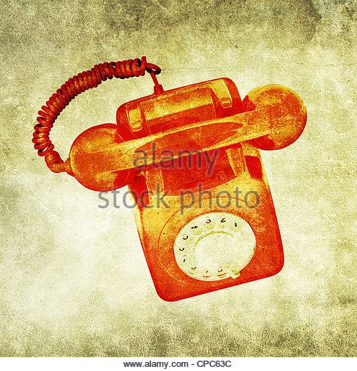 grunge phone print - Stock Image