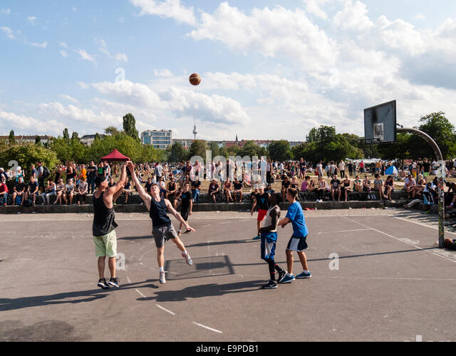 Basketball in Mauerpark, Berlin, GermanyEurope - Stock Image