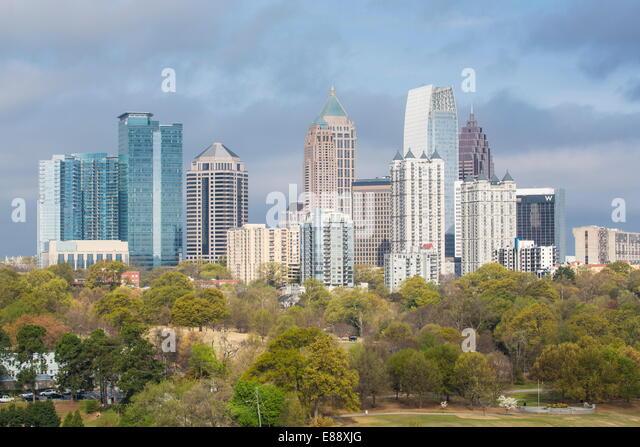 Midtown skyline from Piedmont Park, Atlanta, Georgia, United States of America, North America - Stock Image