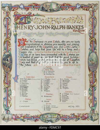 Illustrated commemorative document celebrating Henry John Ralph Bankes's coming of age on 14 July 1923, signed - Stock Image