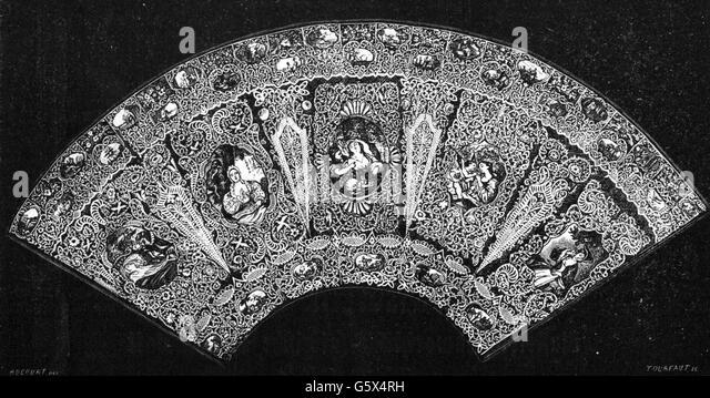 Jeanne Antoinette Marquise de Pompadour, fan, 19th century - Stock Image