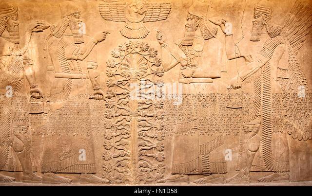 Ancient sumerian stone carving cuneiform stock photos