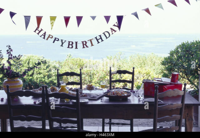 Birthday pennants stock photos birthday pennants stock for Terrace party decoration
