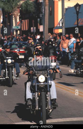 Daytona Beach Florida fl bike week biker wearing helmet - Stock Image