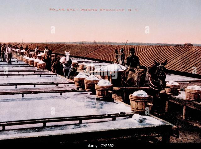 Salt Sheds and Solar Evaporation Method, Salt Industry, Syracuse, New York, USA, Hand-Colored Photograph, Circa - Stock-Bilder