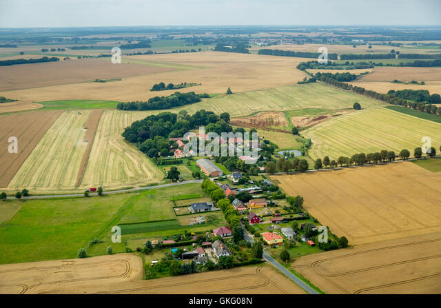 Aerial view, Landhotel Gut Solzow, Wellness Hotel, Vipperow, Mecklenburg Lake District, Mecklenburgian Switzerland, - Stock Image