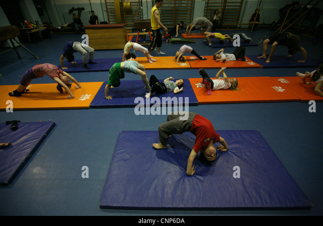 Training of the gymnastic club Podednik in Belgrade, Serbia. - Stock Image