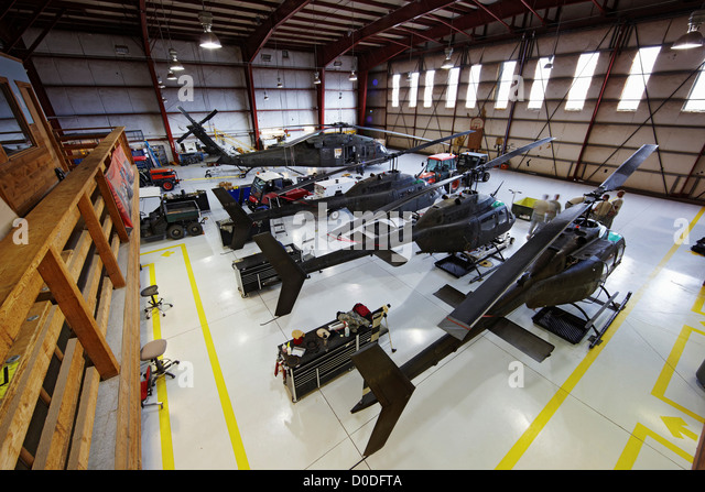 Hangar HAATS or High Altitude Army National Guard Training Site base where military pilots learn about high density - Stock Image