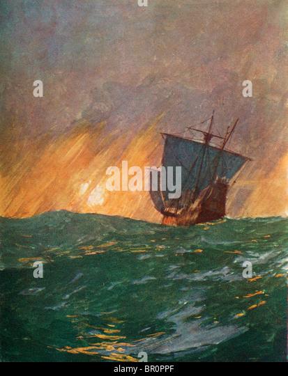 Christopher Columbus sailing westward. Christopher Columbus c.1451 to 1506. Italian navigator, colonizer and explorer. - Stock-Bilder