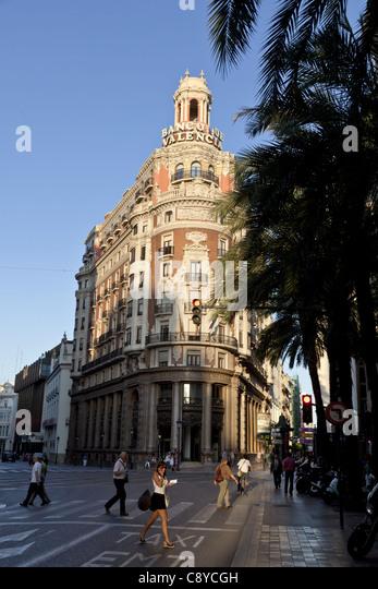 Banco de Valencia building, art deco, Valencia, Spain - Stock Image