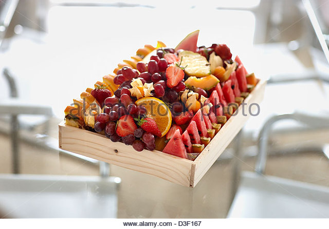 Fruit wooden box selection conference snack - Stock Image