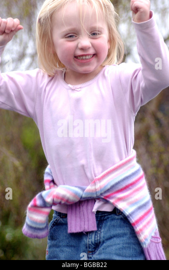 Photograph of success girl kid achievement winner celebration UK - Stock-Bilder