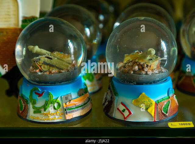 Hezbollah souvenirs shop in the tourist landmark of the resistance, South Governorate, Mleeta, Lebanon - Stock-Bilder