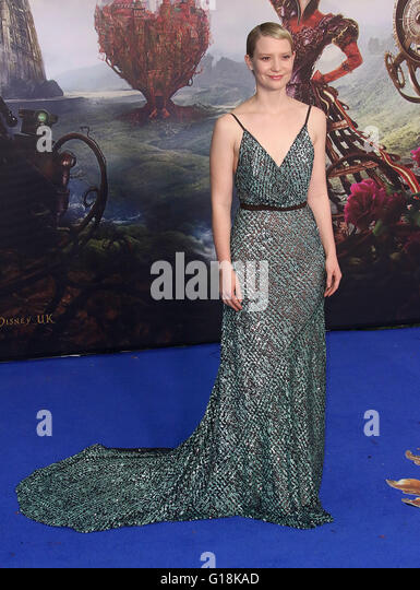 London, UK. 10th May, 2016. Mia Wasikowska attending 'Alice Through The Looking Glass' European Film Premiere - Stock Image