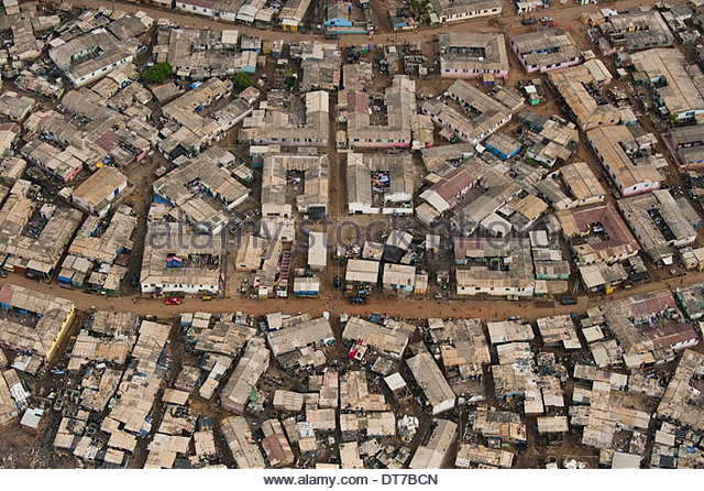 Slum on outskirts of Accra Ghana an aerial view Accra Ghana - Stock Image