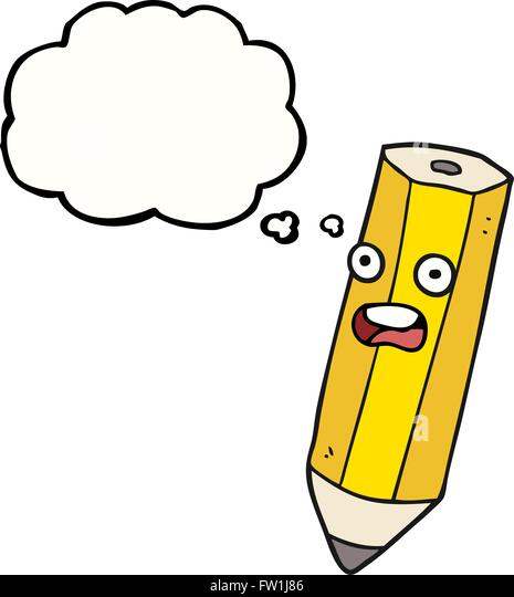 happy freehand drawn thought bubble cartoon pencil - Stock-Bilder