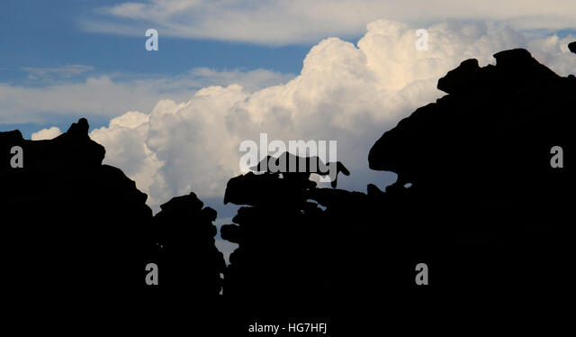 Fantasy Canyon Utah desert rock formations and storm clouds - Stock Image