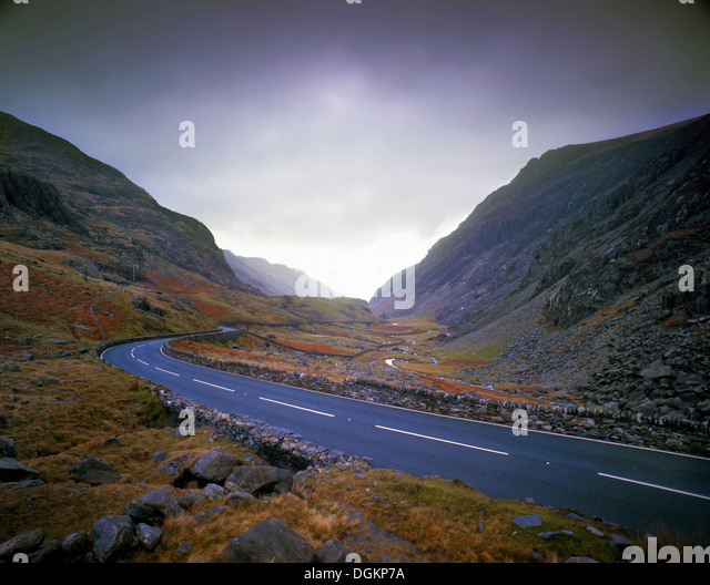 A winter's view of Llanberis Pass. - Stock Image