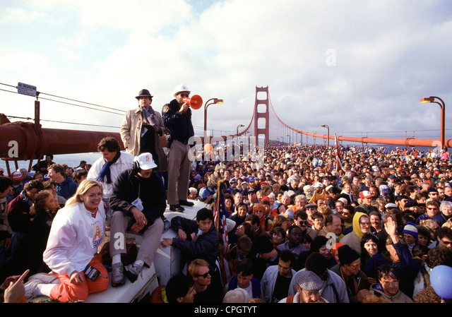 More than 300,000 people crowded onto the San Francisco Golden Gate Bridge during the 50th anniversary celebration - Stock Image