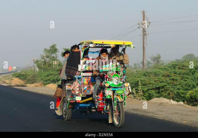 Road transportation in rural India, Gujarat, India, Asia - Stock Image