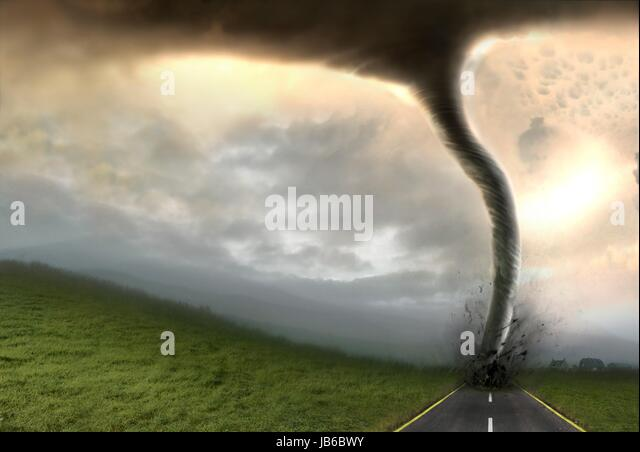 Tornado, artwork. At the base of the tornado is a debris cloud. A tornado is a violent rotating column of air characterised - Stock-Bilder