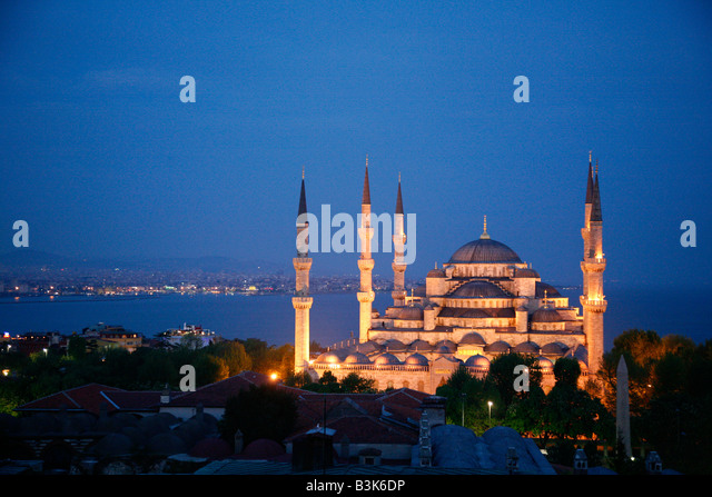 May 2008 - The Blue Mosque or in its Turkish name Sultan Ahmet Camii Istanbul Turkey - Stock Image