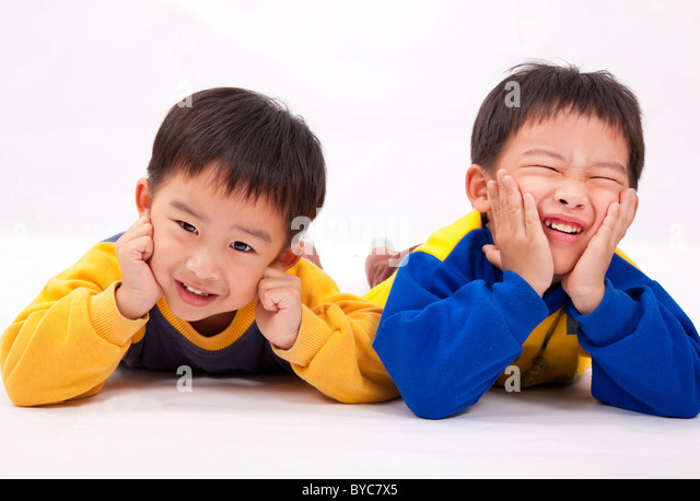 Two naughty boys,brothers - Stock Image
