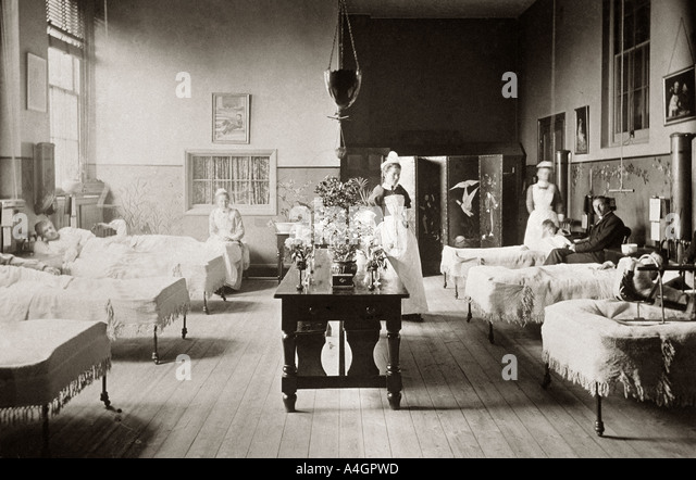 A photograph of a victorian hospital ward, circa 1890. - Stock Image