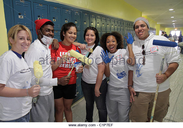 Miami Florida Hands on Miami MLK Day of Service Martin Luther King Jr. birthday Northwestern High School campus - Stock Image