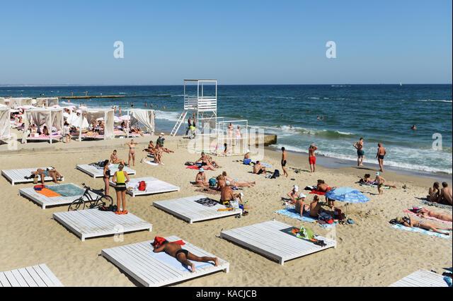 The vibrant Otrada beach in Odessa, Ukraine. - Stock Image