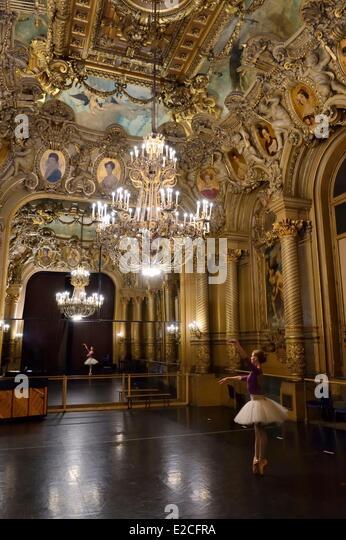 France, Paris, the Garnier Opera, warm-ups before going on stage in the Foyer de la Danse - Stock Image